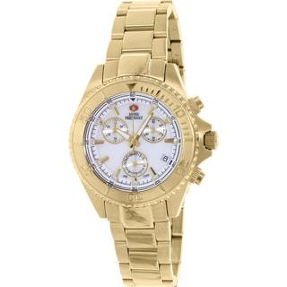 Swiss Precimax Women's Manhattan Elite Goldtone Mother-of-Pearl Dial Chronograph Watch