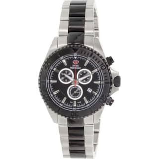 Swiss Precimax Men's Maritime Pro Two-tone Stainless Steel Black Dial Water-resistant Chronograph Watch|https://ak1.ostkcdn.com/images/products/8537200/P15817738.jpg?impolicy=medium
