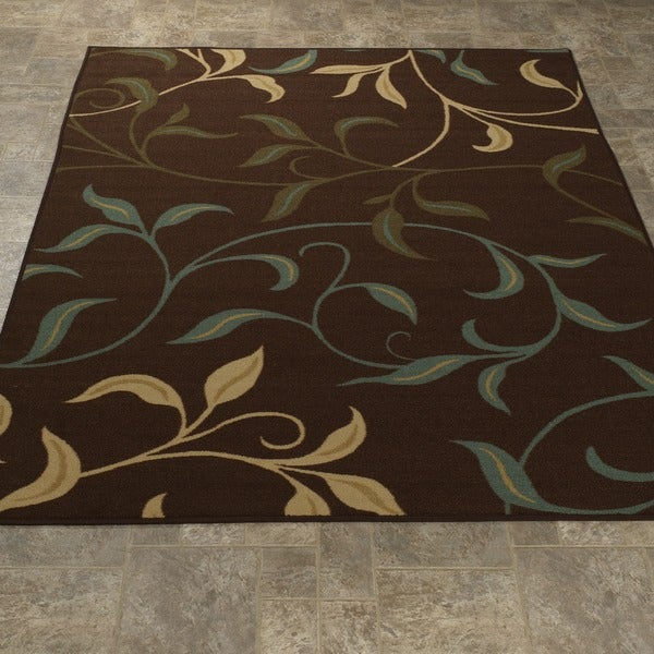 Chocolate Leaves Design Non Skid Area Rug 3 3 X 5