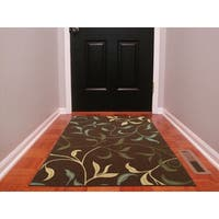 Ottomanson Ottohome Collection Contemporary Non-skid Rubber Backing Leaves Design Chocolate Area Rug (3' x 5') - 3'3 x 5'