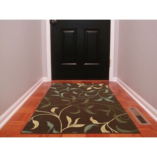 Ottomanson Ottohome Collection Contemporary Non-skid Rubber Backing Leaves Design Chocolate Area Rug (3' x 5')