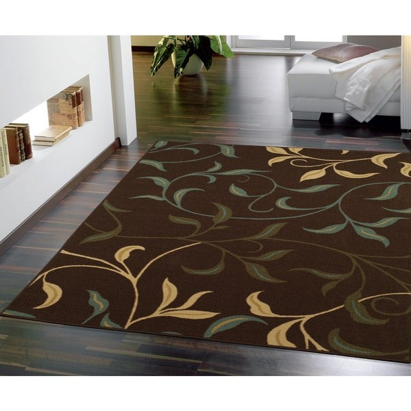 Ottomanson Contemporary Leaves Design Modern Choclate Area Rug - 5' x 6'6