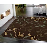Ottomanson Contemporary Leaves Design Modern Choclate Area Rug (5' x 7') - 5' x 6'6
