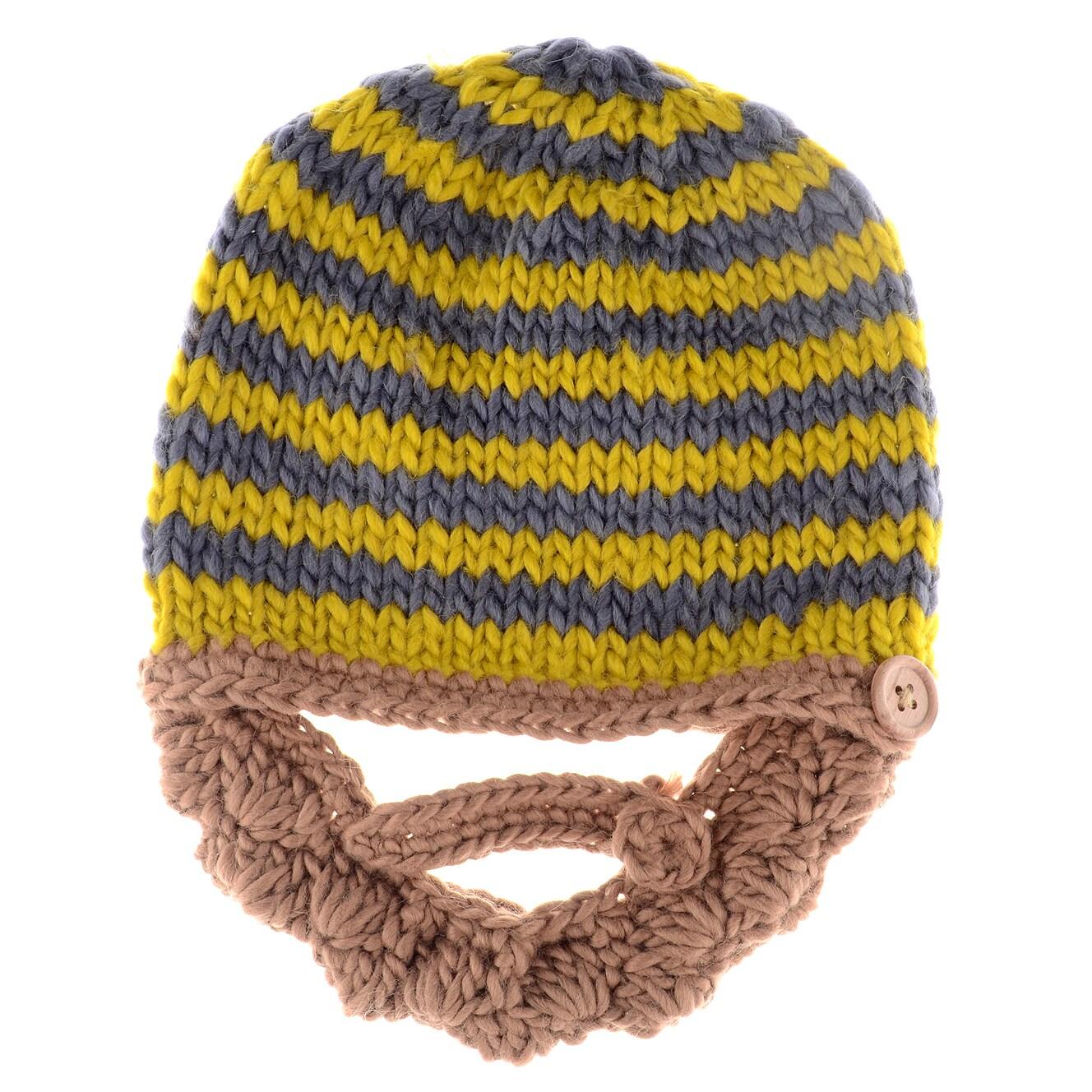 Crummy Bunny Hand Crocheted Baby Beanie Hat Beard (Blonde...
