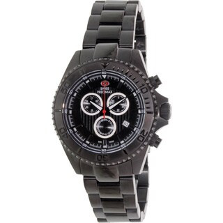 Swiss Precimax Men's Maritime Pro Black Stainless Steel Chronograph Watch