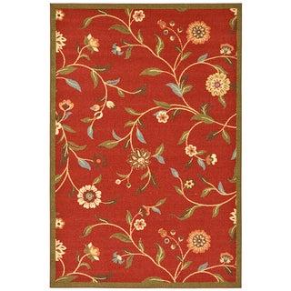 Ottomanson Dark Red Floral Garden Non-skid Area Rug (3'3 x 5')