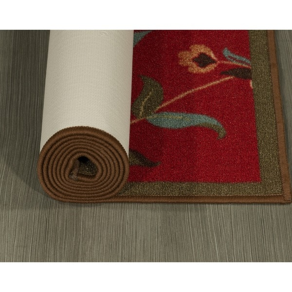 ottomanson ottohome floral garden design modern nonskid rubber backing red area rug 3u0027 x 5u0027 free shipping on orders over 45