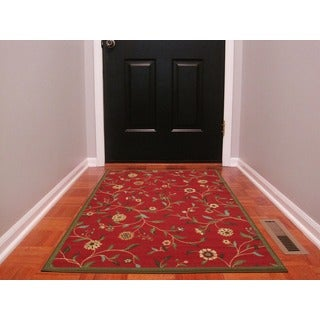 Ottomanson Ottohome Floral Garden Design Modern Non-skid Rubber Backing Red Area Rug (3' x 5')