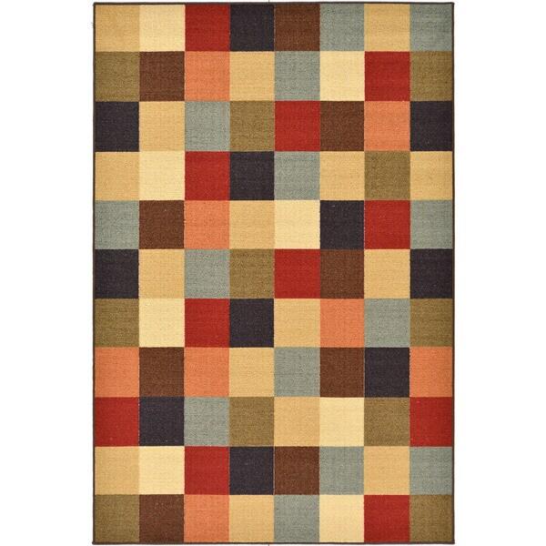 Ottomanson Multicolored Checkered Design Non Skid Area Rug 3 39 3 X 5 39 Free Shipping On Orders