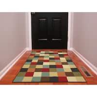 """Ottomanson Ottohome Multicolor Contemporary Checkered Design Modern Area Rug with Non-skid Rubber Backing (3' x 5') - 3'3"""" x 5'"""