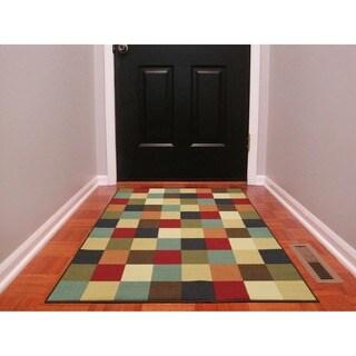 Ottomanson Ottohome Multicolor Contemporary Checkered Design Modern Area Rug with Non-skid Rubber Backing (3' x 5') - 3'3 x 5'