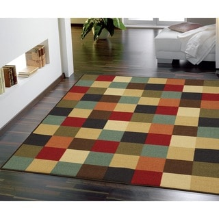 Ottomanson Multicolored Checkered Design Non-skid Area Rug (5' x 6'6)