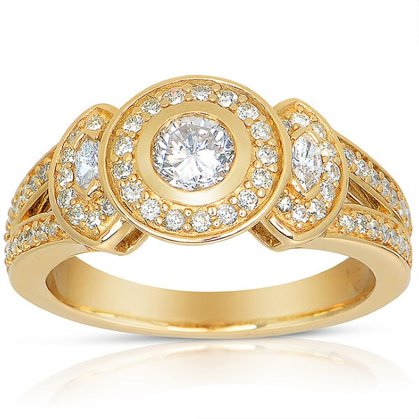 Eloquence 14k Yellow Gold 3/4ct TDW Round Bezel Diamond Ring (J-K, I1-I2)