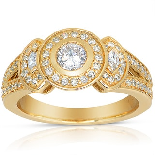 Eloquence 14k Yellow Gold 3/4ct TDW Round Bezel Diamond Ring (J-K, I1-I2)