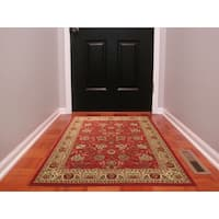 Ottomanson Ottohome Collection Traditional Floral Design Modern Dark Red Area Rug with Non-skid Rubber Backing (3' x 5')