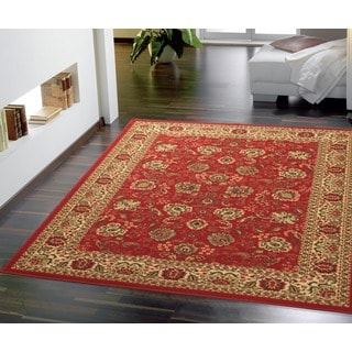 Ottomanson Dark Red Traditional Floral Design Non-skid Area Rug (5' x 7')