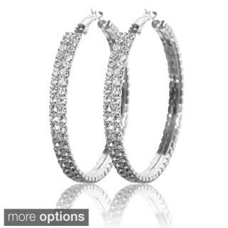 Silvertone or Goldtone Crystal Double-row Hoop Earrings