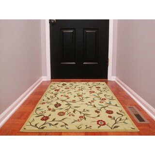 Ottomanson Ottohome Floral Garden Design Modern Beige Area Rug with Non-skid Rubber Backing - 3'3 x 5'