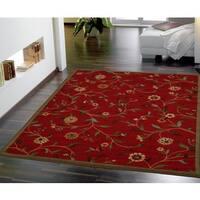 Ottomanson Dark Red Floral Garden Design Non-skid Area Rug - 5' x 6'6