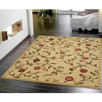 Ottomanson Ottohome Floral Garden Design Modern Beige Area Rug with Non-skid Rubber Backing (5' x 7')