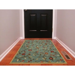 Ottomanson Ottohome Collection Floral Garden Design Modern Sage Green Area Rug with Non-skid Rubber Backing (3' x 5')