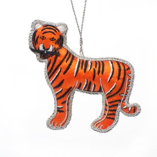 Handmade Beaded Mighty Tiger Ornament (India)