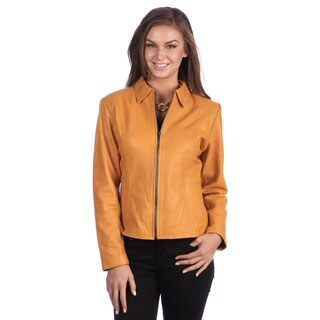 Ladies Designer Modern Flair Yellow Leather Jacket (Ecuador)