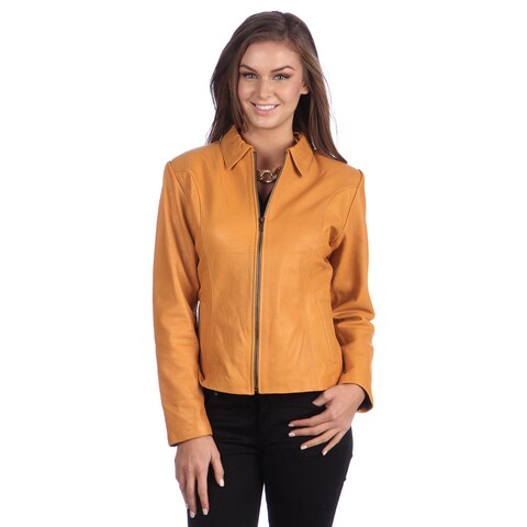 Handmade Ladies Designer Modern Flair Yellow Leather Jacket (Ecuador)