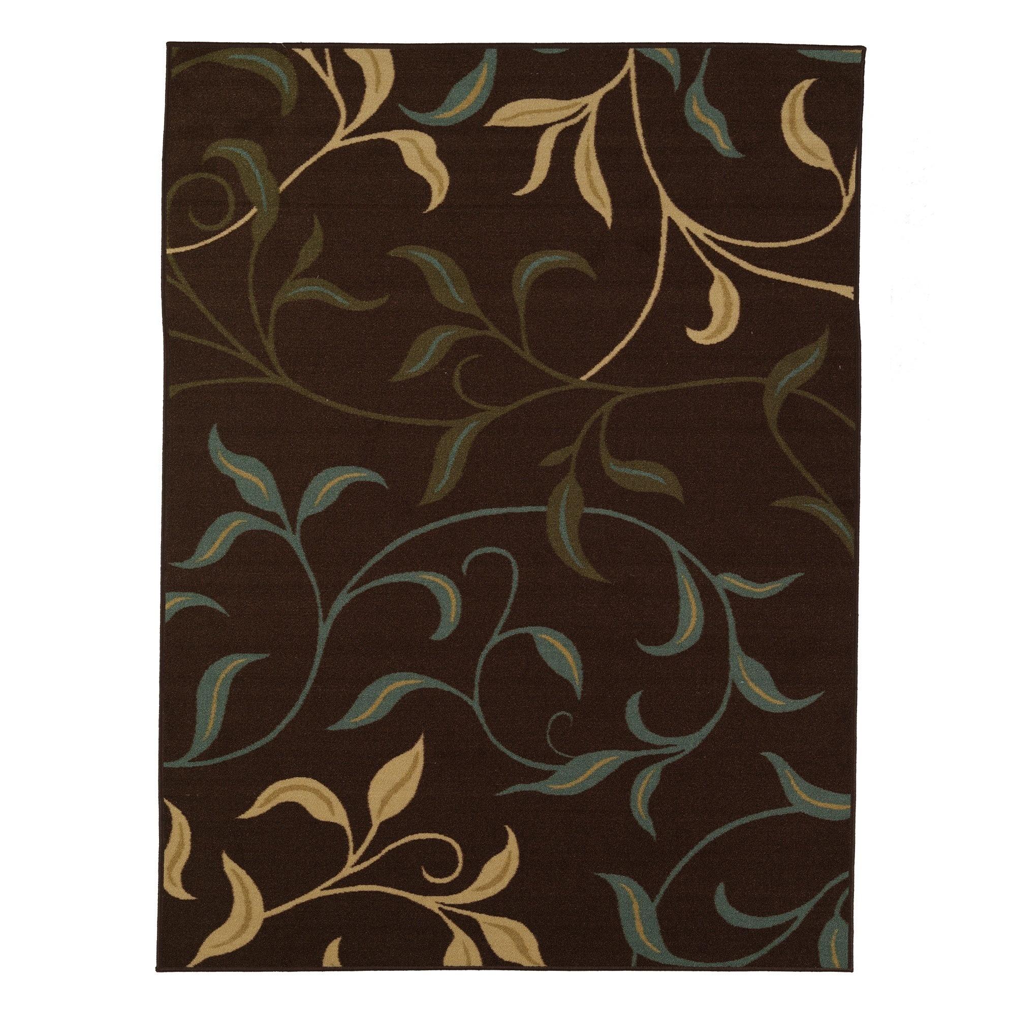 Modern Leaves Rug: Ottomanson Ottohome Contemporary Leaves Design Modern Area