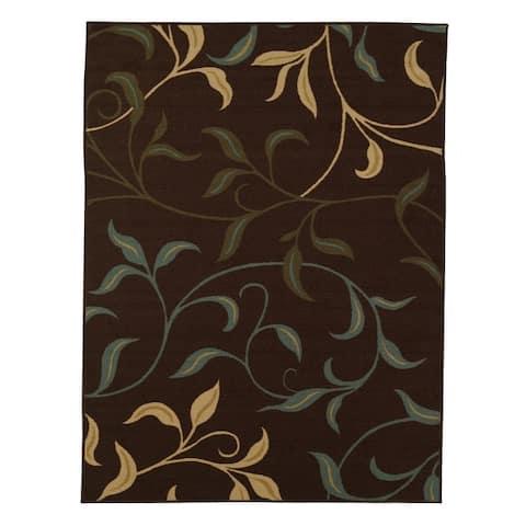 Ottomanson Ottohome Contemporary Leaves Design Modern Area Rug