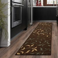 Ottomanson Ottohome Contemporary Leaves Design Chocolate Modern Runner Rug with Non-skid Rubber Backing - 1'10 x 7'