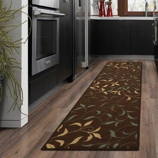 Ottomanson Ottohome Contemporary Leaves Design Chocolate Modern Runner Rug with Non-skid Rubber Backing (2' x 7')