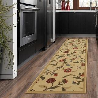 Ottomanson Beige Floral Garden Design Non-skid Runner Rug (1'10 x 7')