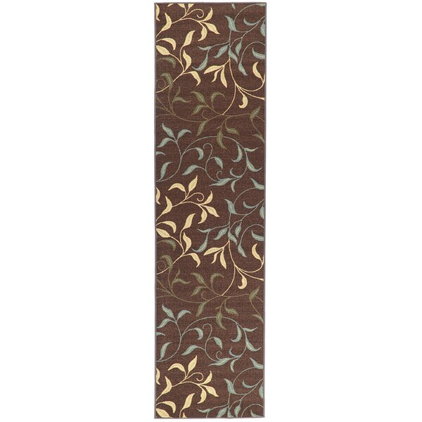 Ottomanson Chocolate Contemporary Leaves Design Non-skid Runner Rug (1'8 x 4'11)
