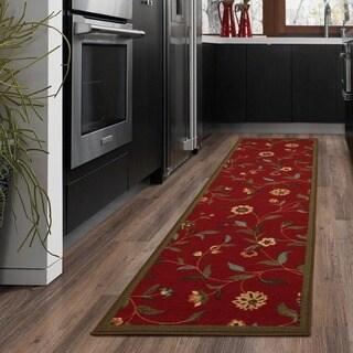 Ottomanson Floral Garden Design Non-skid Dark Red Runner Rug (1'8 x 4'11)