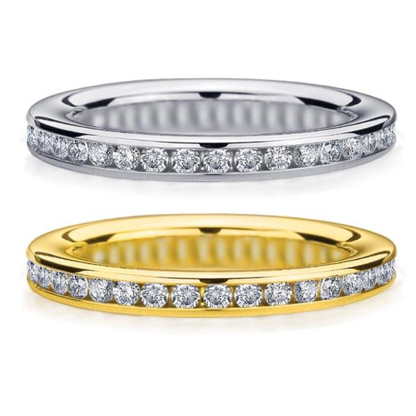 Amore 14k White or Yellow Gold 1/2ct TDW Machine-set Diamond Wedding Band (H-I, I1-I2)