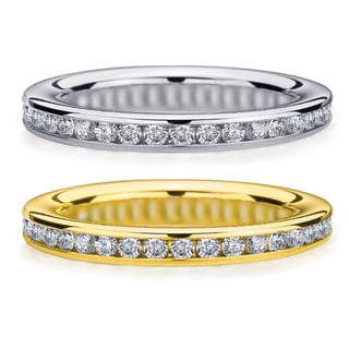 Amore 14k White or Yellow Gold 1/2ct TDW Machine-set Diamond Wedding Band