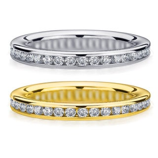 Amore 14k White or Yellow Gold 1/2ct TDW Machine-set Diamond Wedding Band (H-I, I1-I2)