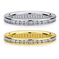 Amore 14k White or Yellow Gold 1/2ct TDW Machine-set Diamond Wedding Band