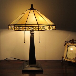 Chloe Tiffany-style Antique Bronze Glass 2-light Table Lamp