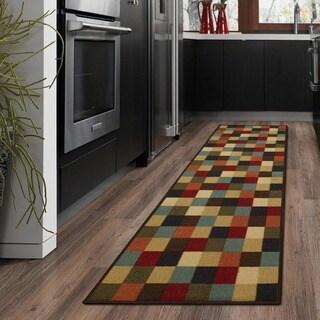 Ottomanson Ottohome Multicolor Contemporary Checkered Design Modern Runner Rug with Non-skid Rubber Backing (2' x 7')