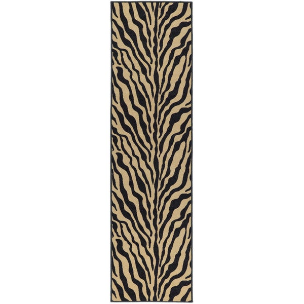 Ottomanson Animal Print Zebra Design Non-skid Runner Rug (1'10 x 7')