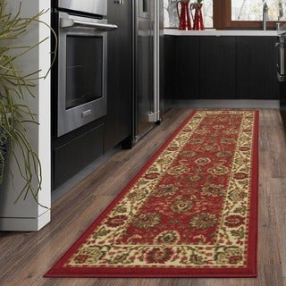 Ottomanson Traditional Floral Design Non-skid Dark Red Runner Rug (1'10 x 7')