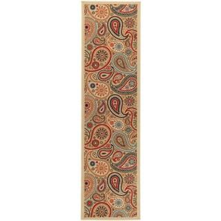 Ottomanson Contemporary Paisley Design Non-skid Beige Runner Rug (1'8 x 4'11)