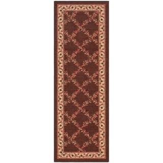 "Ottomanson Chocolate Floral Trellis Design Runner Rug (1'10""X7'0"")"