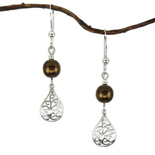 Jewelry by Dawn Brown Glass Filigree Teardrop Sterling Silver Earrings