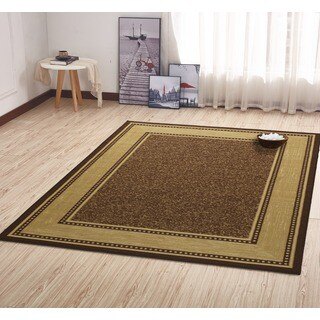 Ottomanson Contemporary Bordered Design Non-skid Chocolate Rug (5' x 6'6)