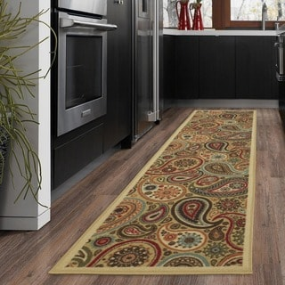 Ottomanson Ottohome Collection Contemporary Paisley Design Modern Beige Runner  Rug With Non Skid Rubber Backing