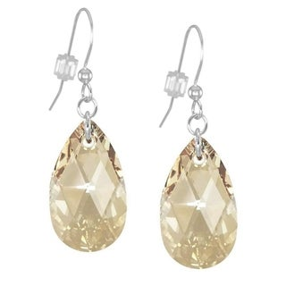 Handmade Jewelry by Dawn Large Golden Shadow Crystal Pear Sterling Silver Earrings (USA)