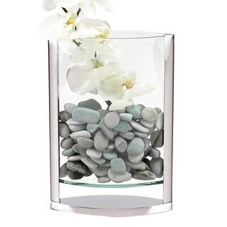 The Donald 14-inch Polished Aluminum and Glass Pocket Vase